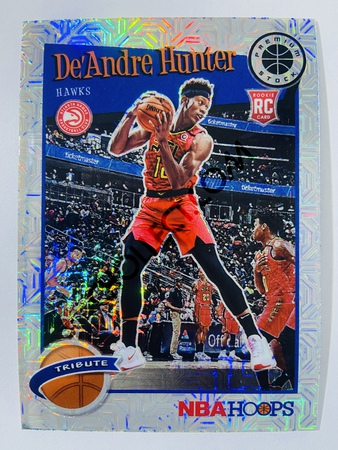 De'Andre Hunter - Atlanta Hawks 2019-20 Panini Hoops Premium Stock Tribute Mojo Prizm Parallel #299