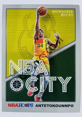 Giannis Antetokounmpo - Milwaukee Bucks 2019-20 Panini Hoops Premium Stock NBA City Insert #4