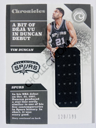 Tim Duncan - San Antonio Spurs 2017-18 Panini Chronicles Swatches #53 | 120/199