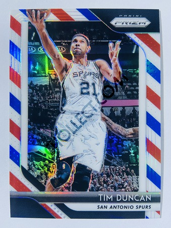 Tim Duncan - San Antonio Spurs 2018-19 Panini Prizm Red/White/Blue Parallel #225