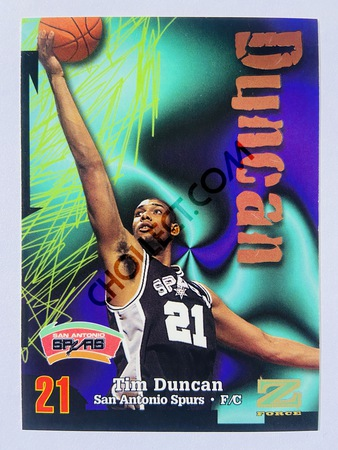 Tim Duncan - San Antonio Spurs 1997-98 Skybox Z-Force Rookie Card #111