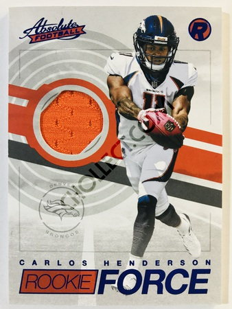 Carlos Henderson - Denver Broncos Panini Absolute Football 2017-18 #18 Rookie Force Insert Blue