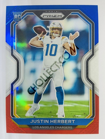 Justin Herbert - Los Angeles Chargers 2020-21 Panini Prizm Football Red/White/Blue Parallel #325 (Rookie)