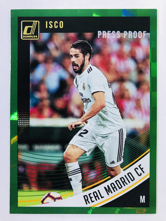 Isco - Real Madrid CF Panini Donruss Soccer 2018-19 #27 Green Press Proof Parallel