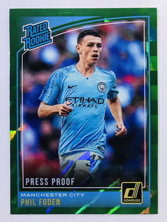 Phil Foden - Manchester City Panini Donruss Soccer 2018-19 #179 Rated Rookie Green Press Proof Parallel