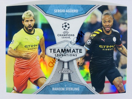 Sergio Aguero / Raheem Sterling - Manchester City 2020 Topps Chrome UCL Teammate Sensations #TS-AS