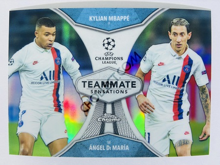 Kylian Mbappe / Angel Di Maria - Paris Saint-Germain 2020 Topps Chrome UCL Teammate Sensations #TS-KA